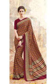 Casual Wear Multi Colour Printed Saree  - 19890
