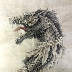"""Zburator"" (dragon wolf) - Dacia Empire [ancient Romanian, before Rome] war standard. My brother in law birthday present. Calligraphy…"