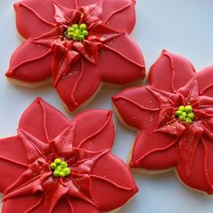 Red Holiday Poinsettia Cookie Gift Box MADE TO by whippedbakeshop