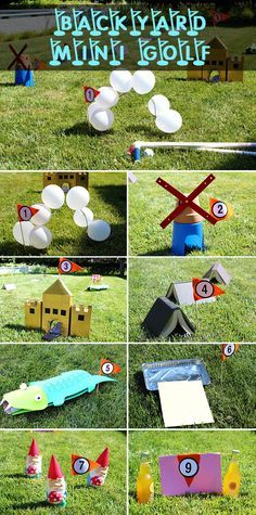 Transform your backyard into the coolest mini golf course around! Use creativity and ordinary household items (cereal boxes, books, cardboard) to construct the course. Your kids will have as much much putting it together as they will playing the game! Miniature Golf, Splash Pad, Summer Activities, Summer Fun, Summer Ideas, Stuff To Do, Golf Courses, Halloween, Cereal Boxes