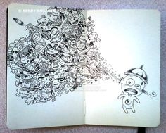 Moleskine Notebook Art by Kerby Rosanes - purple leaves Doodle Art, Pages Doodle, Colouring Pages, Coloring Books, Art Sketches, Art Drawings, Moleskine Sketchbook, Moleskine Notebook, Fashion Sketchbook