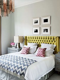Pattern play, yellow, Madeline Weinrib upholstered headboard