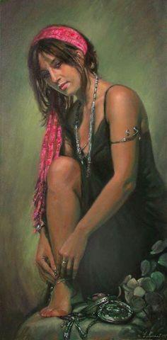 Emmanuel Garant - Jeune femme au foulard rose