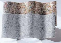 A matéria-prima da telha ondulada Ecotop (0,90 x 2,20 x 6 mm de espessura) são aparas de tudo de creme dental. Inclinação mínima: 22%.