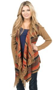 Flying Tomato Women's Tan with Orange & Navy Navajo Print Fringe Sweater Cardigan | Cavender's