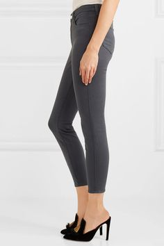 L'Agence - Margot Cropped High-rise Skinny Jeans - Gray - 32