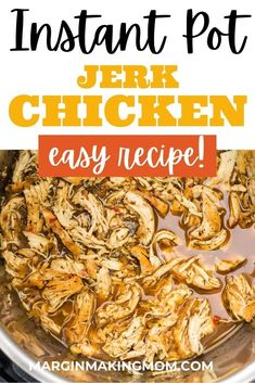 Pulled Jamaican jerk chicken is such a versatile mealtime staple! There are many ways to serve it, and I use a seasoning packet so it comes together quickly. Instant Pot Pressure Cooker, Pressure Cooker Recipes, Pressure Cooking, Weeknight Meals, Easy Meals, Food Dishes, Main Dishes, Jerk Chicken, Fabulous Foods