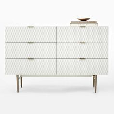 With its geometric, textured drawer fronts and smooth lacquer finish, our retro-inspired Audrey Dresser makes quite an impression. Slim, antique brass-finished metal drawer handles pull the look together. West Elm Dresser, 6 Drawer Dresser, Cabinet Furniture, Cool Furniture, Furniture Design, Drawer Design, Metal Drawers, Spring Home Decor, Asian Decor