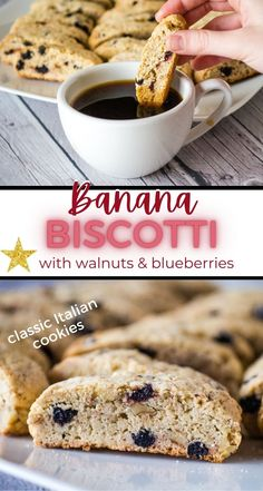 These easy Banana Biscotti Cookies are sweet and crunchy. Studded with blueberries and walnuts, they are a delicious Italian cookie to make for the holidays.