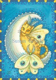 Susan Brack moon art | Luna Cat Moth Fantasy Susan Brack Original Celestial Sun Moon Stars ...