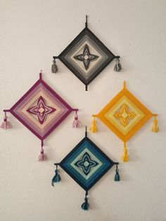 4 Vintage Ojo de Dios God s Eye Chakra colors Anthro Urban Outfitters Vintage Ojo de Dios God's Eye yarn wall hangings One black, one yellow, one magenta, one teal Excellent condition Diy Crafts For Adults, Diy Arts And Crafts, Diy Home Crafts, Diy Crafts To Sell, Sell Diy, Decor Crafts, Wall Hanging Crafts, Yarn Wall Hanging, Wall Hangings