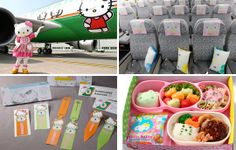 Hello Kitty Jets.... 3 jets in Taiwan's Eva Air's Fleet  are a traveling experience...each with its own Hello Kitty Theme. Eva Air even set up a separate animated website that caters to kids.