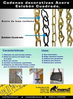 Cadenas Decorativas Acero, Eslabón Cuadrado...