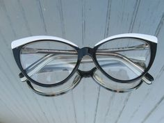 b0bdb6fc0f5 Vintage Retro Cat Eyes Eye Glasses Frames Black White Lafont Parisfrance  NOS