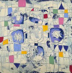 Título: Selección de Azules  Autor: Alvaro Galindo Vácha  Dimensiones: 40 x 40 cm  Técnica: Acrílico sobre tela  Año: 2010  Firmado: Frente y Revés