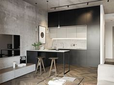 small room design ideas for men Small Apartment Interior, Small Apartment Kitchen, Small Apartment Design, Small Room Design, Living Room Kitchen, Kitchen Walls, Cozy Apartment, Small Kitchens, Small Bathrooms