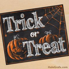 FREE Printable Halloween Trick or Treat Chalkboard Art