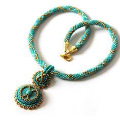 Beadwork Turquoise necklace Turquoise pendant on bead crochett rope  OOAK