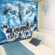 Wall Hanging Snowy Night Wolves Print Tapestry - W59 INCH * L79 INCH W59 INCH * L79 INCH