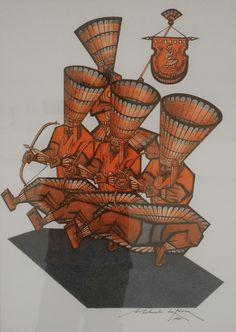 Gravura do artista pernambucano Abelardo da Hora -Manifestação da Cultura Popular - Caboclinhos