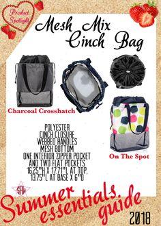 Graphic for VIP Facebook group or party. Mesh mix Cinch bag Summer essentials product spotlight. Thirty-One spring/summer 2018 www.mythirtyone.ca/sabrinawhite