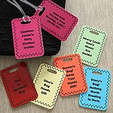"""You Name It Personalized Luggage Tags. Travel in personalized style with our You Name It Personalized Luggage Tags! Set of two personalized luggage tags are designed with any 5 line personalization across the front and any 4 line personalization on the reverse. You choose from our 6 color options and we'll create a personalized look that yours alone! Bag tag measures 2 3/4"""" x 4""""; includes commercial grade, thick, clear strap which can be adjusted to fit almost any type. Price: $15.95"""