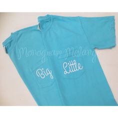 Comfort Colors Big Little Monogrammed Short Sleeve Pocket Tee Shirt... ($39) ❤ liked on Polyvore featuring tops, t-shirts, light blue, women's clothing, blue t shirt, light blue t shirt, neon pink shirt, christmas shirts and short sleeve shirts