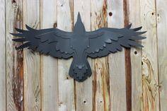 Free Shipping!, Steel Raven Garden Sculpture, Flying Raven, Raven Decoration, Steel Raven, Metal Crow, Flying Eagle, Soaring Eagle, Raven by IdealGardenProducts on Etsy