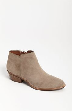 "Sam Edelman 'Petty' Bootie in ""Putty Suede"" at Nordstrom.com - Supple leather shapes a low-profile bootie with a slight stacked heel."