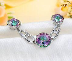 Rainbow Mystic Topaz Bracelet Mystic Fire Topaz, Rainbow Topaz, Gemstone Jewelry, Unique Jewelry, Jewelry Accessories, Jewels, Bracelets, Bangles, Gemstones