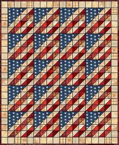 This would be easier and faster if done with strip-pieced triangles, rather than all those HSTs.  Patriotic quilt