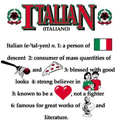 I love this Italian poster - I think my boyfriend has only mastered the eating portion of his Italian heritage. Must be that he's only a quarter Italian :) Italian Memes, Italian Quotes, Italian Phrases, Italian Recipes, Italian Life, Italian Girls, Italian Style, Italian Night, Italian Problems