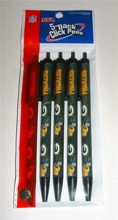 GREEN BAY PACKERS Pens - 5 Pack of Ball Point PENS Great Gift #GreenBayPackers