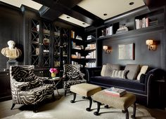 Candace Cavanaugh Interiors - Black living room with builtin cabinetry and bookshelves! ...