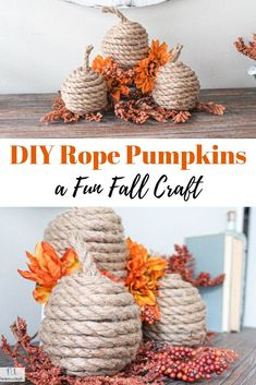 Learn how to create your own DIY Rope Pumpkins for a Fun Fall Craft. This is great Halloween craft too and only requires a few supplies. Pumpkin Carving Kits, Amazing Pumpkin Carving, Easy Fall Crafts, Fall Diy, Fun Crafts, Halloween Crafts, Holiday Crafts, Holiday Decor, Holiday Ideas