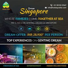 Avail this family special discount on your luxury Cruise Travel with Holiday Cellar.  Hurry! offer valid for limited period. For more inquiries contact - 9915937647 email: info@holidaycellar.com #DreamCruise #DreamCruisesingapore #singaporecruise #singaporetravel #luxurytravelpackages #cruises #familyspecial #cruisingtime #luxurycruise #ExploreSingapore #GentingDream #holidaycellar #cruise