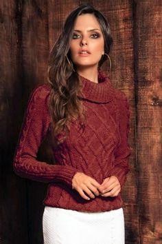 Blusa Tricô Gola Rolê Terra                                                                                                                                                      Mais Sweater Weather, Ideias Fashion, Winter Outfits, Knitwear, Knit Crochet, Winter Fashion, Ruffle Blouse, Turtle Neck, Tunic