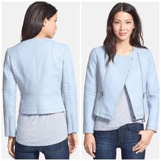 Vince Camuto Faux leather jacket Baby blue hue softens the edgy style of a classic collarless moto jacket complete with an off-center front zip and channel-stitched detailing. Zip cuffs. Front zip pockets. Lined. 100% polyurethane faux leather. Open to offers. No trades. Vince Camuto Jackets & Coats