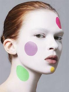 model Elise Crombez with creative makeup