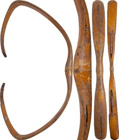 """Indo-Persian (Indian) composite bow, 18th century, 53 1/2"""" length. Built up of horn, wood and sinew. Broad cobra cape section with waisted grip and ribbed terminals extending to the nocks. 60 to 70% original yellow/orange paint. Complete with the nocks intact."""