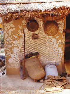 indian mud huts wall decor