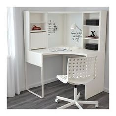 MICKE Corner workstation, white white 39 for dressing room desk in bedroom MICKE Corner workstation - white - IKEA Ikea Linnmon, Ikea Micke, Home Office Design, Home Office Decor, Office Style, Home Design, Corner Workstation, Ikea Corner Desk, Corner Office