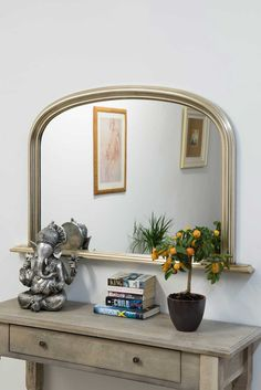 Silver Traditional Arched Overmantle Mirror MirrorLiving Room Mirrors