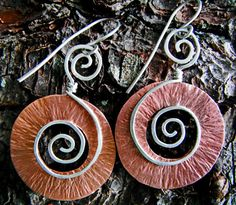 Copper Earrings with Sterling Silver Spirals Hand by TheArtDiva, $32.00