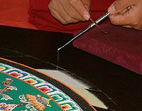 A monk holds the chak-pur rod, a pen-sized metal implement ridged along its length, and scrapes it with a smaller tool to make the sand flow freely from its end Tibetan Mandala, Tibetan Buddhism, Sand Painting, Painting Process, Indian Eyes, Colored Sand, The Monks, In Ancient Times, Art Techniques