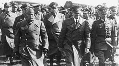 Mussolini visits Army Group South shortly after the invasion of Russia. Hitler is host. Field Marshal Gerd von Rundstedt  is on the right.That was Mussolini's first and last visit to the Eastern Front.