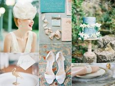 Fun blue garden wedding inspiration board with a unique headpiece, a powder blue wedding cake, and feathered bridal shoes.