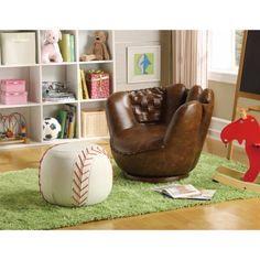 Baseball Glove Chair & Ottoman, Brown/White