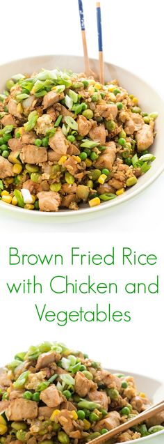 Brown Fried Rice with Chicken and Vegetables is a family favorite that is naturally gluten free. Along with it being kid-friendly, it is a healthy alternative to take-out!