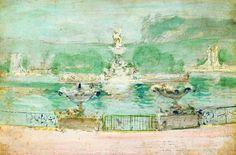 "Fountain World s Fair Twachtman 11""x14"" Canvas Print | eBay"